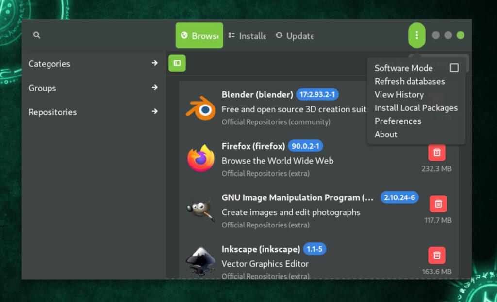 arch install - pamac_settings_01